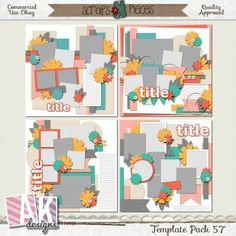Template Pack 57 includes 4 (12x12) templates that can be easily sized to 8x8 if you would like. My templates are PU/S4H/S4O/CU friendly. My templates are also allowed for your CT projects. This pack includes PSD, PNG and TIFF, Page and SBpage formats. Shadows are for preview purpose only.