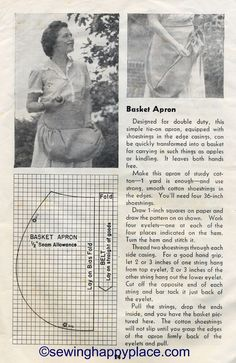 Berry Picking Apron Tutorial From 1944 USDA Farmers Bulletin http://sewinghappyplace.blogspot.co.uk/