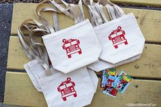 DIY.. Fire Truck Party Favor Bags