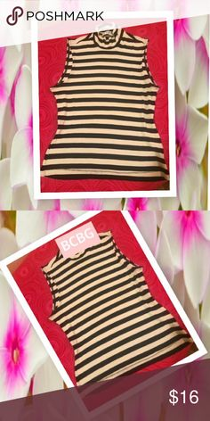 BCBG Top Cream & Black Stripes. Size Large. Stretchy. Can fit a Small & Medium also👍🏿 BCBG Tops Blouses