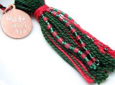 Green on Red Beaded Tassel Christmas Ornament by @lizbethsgarden $8 #dteam #holiday #christmas