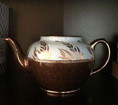 Vintage Sadler Brown Betty Hand Painted Numbered Teapot Gilded Gold Blue Wheat #Sadler
