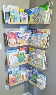 NURSERY Make A Chart Article Body: All parents look for creative ways to guide their children in the Corner Bookshelves, Floating Bookshelves, Book Shelves, Wall Shelves, Nursery Bookshelf, Kids Wall Bookshelf, Bookshelf Design, Kids Corner, Reading Corner Kids