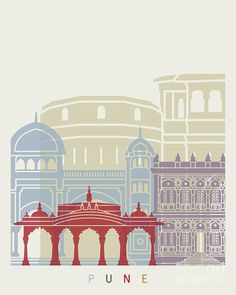 / pune / skyline poster / illustration / painting by pablo romero / Street Painting, City Painting, City Illustration, Creative Illustration, Famous Structures, Glass Painting Patterns, Drawing Competition, Beautiful Landscape Wallpaper, Travel Wall Art