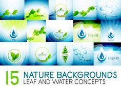 Mega colección de hojas de la naturaleza y orígenes del concepto de agua — Ilustración de stock Aquafresh, Leaves, Illustration, Nature, Concept, Water, Naturaleza, Backgrounds, Illustrations