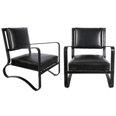 Fantastic pair of 1950's armchairs by Jacques Adnet | From a unique collection of antique and modern armchairs at https://www.1stdibs.com/furniture/seating/armchairs/
