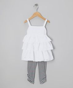 Love this White Eyelet Ruffle Tunic & Black Leggings - Toddler by Abs Essentials on #zulily! #zulilyfinds