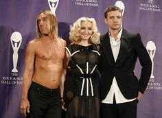 """Iggy Pop, Madonna and Justin Timberlake (¡?¿¡#×), backstage after being inducted during the """"23rd annual 'Rock and Roll Hall of Fame' Induction Ceremony"""", at the 'Waldorf Astoria' Hotel in New York, (March 10, 2008)."""