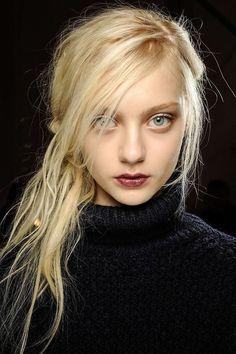 messy side bangs burgundy lips natural eyes