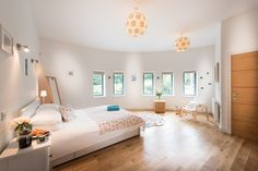 First Floor Masterbed with luxury ensuite wet room overlooks lush valley. Wet Rooms, Architect Design, Devon, Lush, Flooring, Contemporary, Luxury, Bed, Furniture
