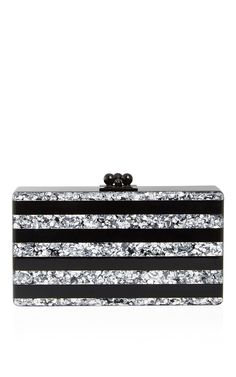 Edie Parker Black and Silver Stripe Jean Clutch - Preorder now on Moda Operandi