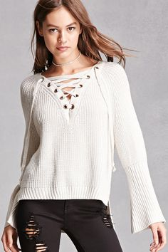 Haute Rogue Lace-Up Sweater V Neck Tops b7036a321