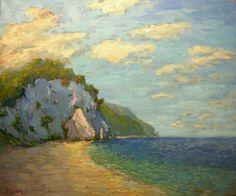 Italian coast original oil painting, impressionist, sunset, beach, cliffs, coastal scene, seascape,
