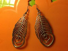 Silver Peacock Feather Earrings Free Shipping by StixxandStones, $11.99