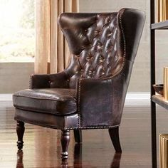 Lazzaro Leather Sedgefield Wing Back Tufted Back Chair