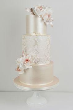 Champagne Damask wedding cake by Blossom Tree Cake Company, Harrogate, North Yorkshire #modernweddingcakes