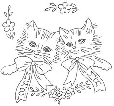 Mr. and Mrs. Kitty Cat Embroidery
