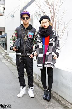 Chesan (left, 19 years old) & Misaki (right, 20 years old) | 22 March 2014 | #couples #Fashion #Harajuku (原宿) #Shibuya (渋谷) #Tokyo (東京) #Japan (日本)