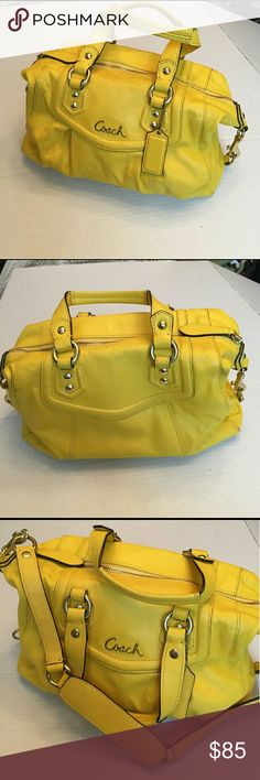 "Coach Yellow Bag Beautiful yellow handbag. Great for spring and summer. ""Big Bird"" Yellow. Minor ink marks on interior. Outside has no major wear. Gold hardware. Coach Bags Shoulder Bags"