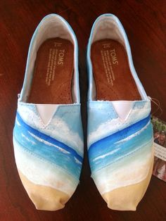 Beach, ocean, and sky hand painted TOMS shoes by LaQuist - order by request at www.etsy.com/shop/laquist #laquist - visit www.laquist.com/gallery to see more custom painted TOMS, Converse, Vans, Keds, and wedges shoes by artist Lauren Rundquist.