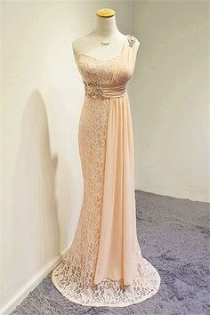 Wishesbridal Pink One Shoulder Sweep Train Lace Trumpet Evening Dress Prom Dresses 2015, Evening Dresses, Formal Dresses, Trumpet, Beautiful Bride, One Shoulder, Mermaid, Train, Lace
