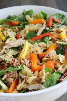 This healthy and satisfying Oriental Chicken Pasta Salad is filled with good for you veggies and fun bow-tie noodles!
