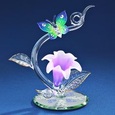 Glass Baron Lavender Lily with Butterfly Figurine #glassbaron #glass #figurine