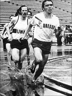 The photo was taken April 8, 1972, at Husky Stadium. Legendary University of Oregon distance runner Steve Prefontaine beat the University of Washington's Rick Albright, left, and won the mile race in 4:07.03.