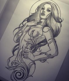 More galactic elements needed but I can see this as a cool sci fi pin up Tattoo Girls, Pin Up Girl Tattoo, Pin Up Tattoos, Body Art Tattoos, Girl Tattoos, Tattoos Skull, Art Drawings Sketches, Tattoo Sketches, Tattoo Drawings