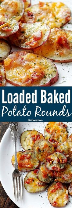 Loaded Baked Potato Rounds - Baked potato slices topped with crunchy bacon and melty cheese! It is a delicious snack that comes together in all of 30 minutes, and they often make their appearance on big game days or large get togethers.