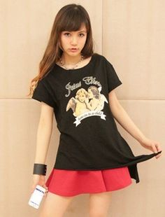 Casual Printing Loose Short Sleeve T-shirt Black