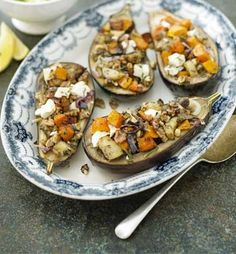 Recipe for baked aubergine eggplant with roast pumpkin and feta cheese