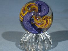 """Hot Glass Artist James Alloway 'OOAK' Dichroic Complex Cane """"Quadmania"""" #208 Art-Glass Marble, 2.13inch in Diameter, marble is signed """"Alloway 208"""" and Marble Stand is included   eBay♥•♥•♥"""