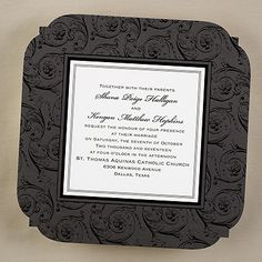 "Unique Midnight Enchantment Wedding Invitations Sculpted edges and black flourishes surround an ecru center on this invitation.  Dimensions: 7"" x 7"" Card• Price Includes: Printed invitation and blank double ecru envelopes • Production Time: 2 Working Days"