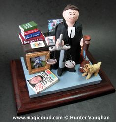 Christmas gift for an Attorney  www.magicmud.com 1 800 231 9814 creating a custom made gift figurine for any man based on the things he likes to do! ...incorporating his work, sports, family, hobbies, food, drink, electronic gadgets, etc. $225   #attorney #lawyer #dad #men #guys #christmas #birthday #anniversary #custom #personalized #xmas #present #award #ChristmasGift #BirthdayGift #husband