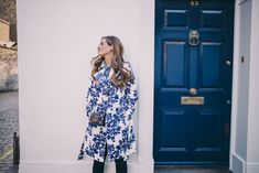 Gal Meets Glam Blue & White Floral Trench by Hobbs, Old Navy  shirt and Joe's jeans