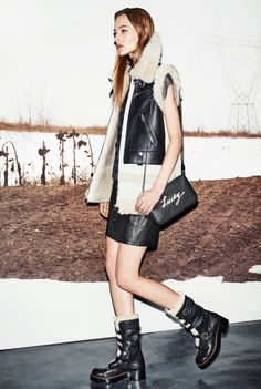 Jackets, leather jackets and sheepskin vest (perhaps not natural), black with black leather vest look good