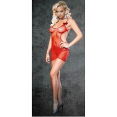 The Strappy Back Fishnet Mini Dress (Red) Only $4 with PayPal.#sexy #lingerie