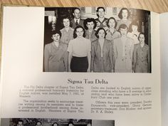"Sigma Tau Delta group photo from Western Illinois University's 1950 issue ""The Sequel,"" Western Illinois University's yearbook."
