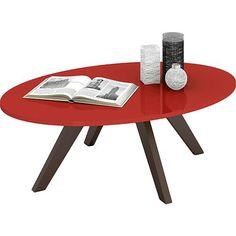 Mesa de Centro Oval Alba Vermelho Laca/Café 90x30cm - Dj Móveis