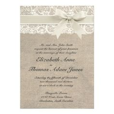 Ivory Lace & Burlap Wedding Invitation - Ivory - Zazzle.com.au