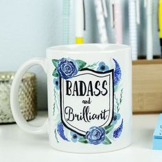 Be Badass and Brilliant with this fun and vibrantly decorated coffee mug! Ceramic mug holds 11 oz and is UV protected. Microwave and dishwasher safe. All mugs are designed and hand pressed in studio by Kaitlin Goodey of Edmonds, WA., asassy Pacific North Westerner who loves color and fun.