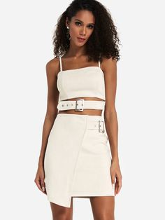 2e3e8d060af Khaki Spaghetti Crop Top & Bodycon Mini Skirt - US$29.95 -YOINS Co Ord Sets