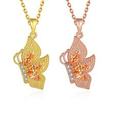 SJCN131 Fino Vivid Ouro Amarelo e Ouro Rosa Flanco Borboleta 18 K Banhado A Ouro…