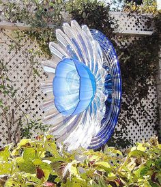 Cobalt Blue Garden Art Plate Glass Flower Yard Suncatcher UpCycled RePurposed KATIA.