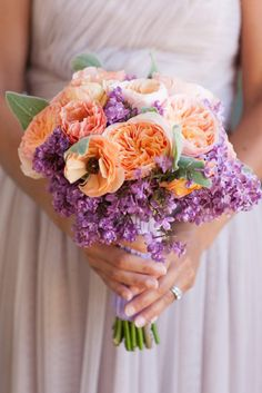 Lovely Bouquet - Photography by Michael & Anna Costa Photography & Floral Design by Camilla Svensson Burns Couture Floral Spring Wedding Bouquets, Spring Wedding Colors, Lilac Wedding, Trendy Wedding, Floral Wedding, Wedding Flowers, Bouquet Wedding, Bridesmaid Bouquet, Orange Purple Wedding