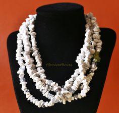 White Stone Bead Necklace Stone Necklace Tribal by AfrowearHouse #stonenecklace #beadednecklace #whitestonejewelry