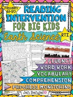 Reading Intervention Program for Big Kids: Set 4- Earth Science! This resource includes daily intervention lessons for a month! It includes 20 fluency passages all based on Earth Science topics, targeted comprehension, word work, and vocabulary for each day. It also includes progress monitoring line graphs, bar graphs, and so much more!! ($)