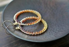 CIJ ON SALE Hessonite Garnet Gemstone Bead Earrings, Ombre Shaded Honey Amber Dark Red Beaded Round Hoops, 14k Gold Filled Wire Wrapped