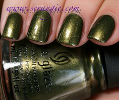 China Glaze Agro.  An amazing leafy olive green shimmer. China Glaze Hunger Games Capitol Colors. Release March 2012. Want.